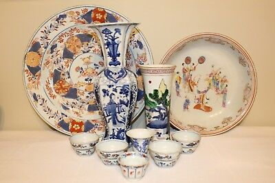 Large Group Of 17Th - 18Th C. Antique Chinese Porcelain Items - Vases, Cups, Etc