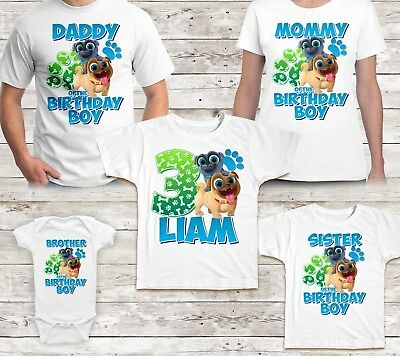 Puppy Dog Pals Birthday Shirt Name and Age Party Family Kid Tshirt Tee Matching