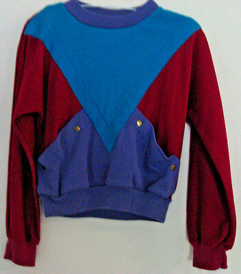 GIRLS VINTAGE SASSON TEAL PURPLE BURGUNDY w POUCH LONG SLEEVE SHIRT M 1990's TOP