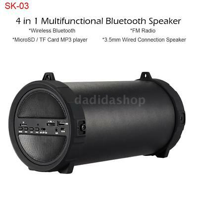 Portable Rechargeable Bluetooth Super Bass Speaker USB SD FM Radio TF Card P1Y2