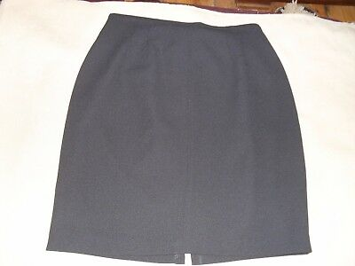 Jacqui E size 12 polyester black lined knee length straight skirt in VGC
