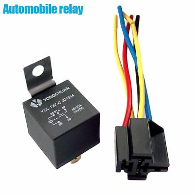 DC 12V Car SPDT Automotive Relay 5 Pin 5 Wires w/Harness Socket 40 Amp Relay set