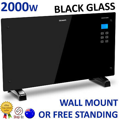 New PORTABLE ELECTRIC SPACE WALL HEATER Glass Mount Room Convection Heat Panel