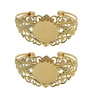 2x Round Bezel Blank Bracelet For Men and Women Fit 25mm Cameo Cabochon Gold