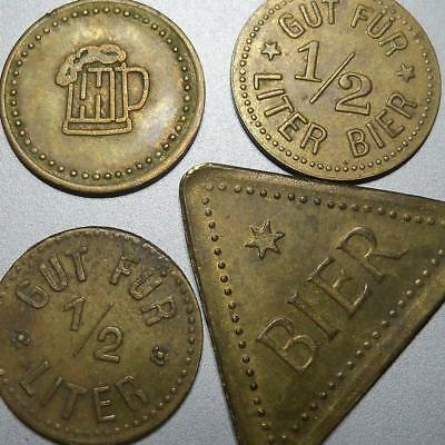 Germany-WW1 BEER ration coins-glass/lager/stein-tokens-rare German War coinage