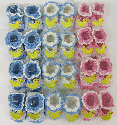 Baby Booties Hand Made pink blue white crochet  12 pairs wholesale lot 3-6 month