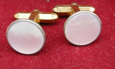 Vintage Men's CUFFLINKS. Genuine Mother of Pearl sets. ca 1940's - 50's.. NoR
