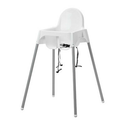 High Chair with Safety Belt, White, Silver Color