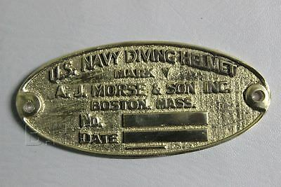 Vintage Diving Divers Helmet. A.j.morse U.s Navy Diving Divers Helmet Name Plate