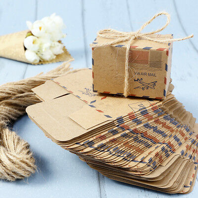 50 Pieces Kraft Paper Envelope Style Wedding Favour Candy Boxes w Strings UK