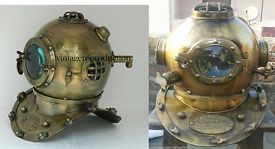 Two Antique Brass 2 Marine Scuba Diving Divers Helmet US Navy Mark V Solid 18""