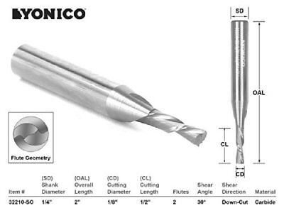 Yonico 32210-SC CNC Router Bit Down Cut Solid Carbide with 1/8-Inch X