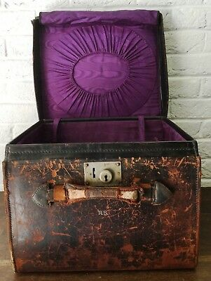 Antique Top Hat Box SQUARE Old Worn Brown Leather Early Travel Luggage Storage