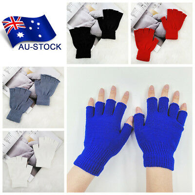 1Pair Fingerless Gloves Winter Knitted Mittens Women Men's Half Finger Gloves