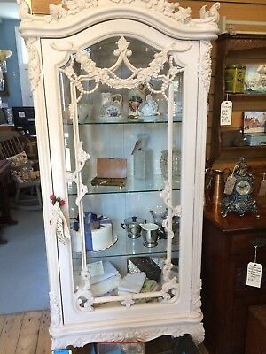 Beautiful French Antique Carved Art Nouveau / Rococo Display Cabinet Armoire