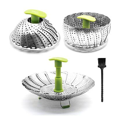 "Vegetable Steamer Basket Folding for Fish Seafood Fit All Size Pot (6"" to 11"")"