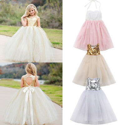 Girl Kid Baby Flower Princess Formal Wedding Bridesmaid Gown Long/Short Dress US