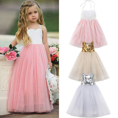 US Kids Baby Flower Girl Party Sequins Dress Wedding Bridesmaid Dresses Princess