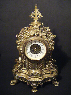 Brass Gilt Ornate Rococo Ormolu Vintage Mantle Clock - Working - 9'' Tall
