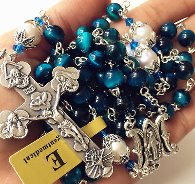 Peacock Bule Tiger Eye Beads & Real Pearl Rosary Cross Necklace Catholic GIFTS