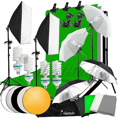 2700W Photography Studio Softbox Umbrella Lighting Kit Background Support Stand