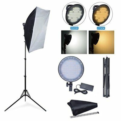 Studio 45W 5500K LED Dimmable Photo Light + Softbox + Stand Kit for Photography