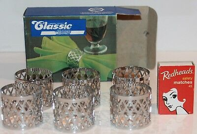 Silver Filigree Napkin Rings Box 6 Serviette Holder Vintage Made England NIB