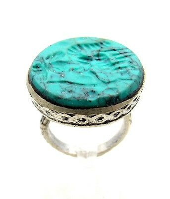 Post Medieval Silver Ring W/ Carved Intaglio Stone  - Artifact - D652