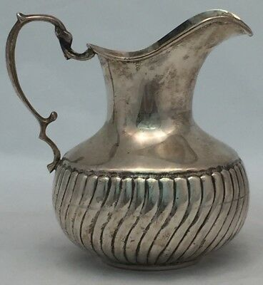 """Antique or Vintage Mexican Coin Silver Pitcher Hand Made 6"""" 298 Grams .900"""