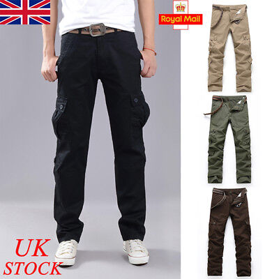 UK Mens Army Trousers Pants Combat Military Cargo Elasticated Waist Work Casual