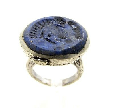 Post Medieval Silver Ring W/ Carved Intaglio Lapis Lazuli  - Wearable  D653