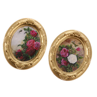 2Pcs 1:12 Scale Dollhouse Miniature Toy Flower Picture Frame Doll Home Accs