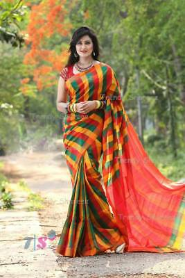 Indian-Pakistan Ethnic Designer Sari Cotton Sari Saree Bollywood Fashion