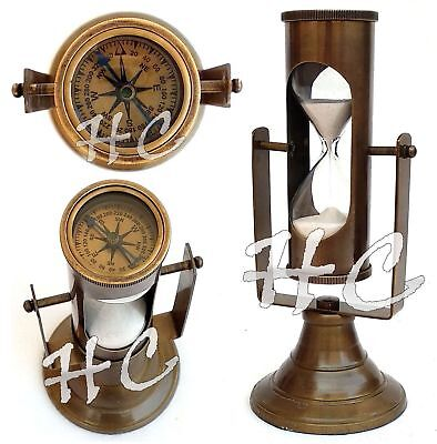 Nautical Ship Sand Timer With Brass Compass Antique Maritime Hanging Hourglass