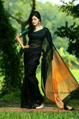 Indian-Pakistan Ethnic Designer Sari Cotton Silk Saree Bollywood Fashion New