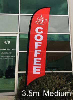 3.5m Coffee Flag / Cafe Bar Restaurant Banner (Excl. Pole & Base)-Ready to Ship!