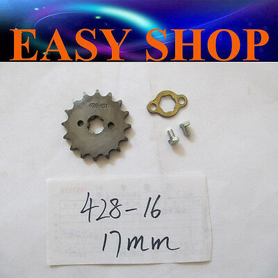 17mm 16T Teeth FRONT 428 CHAIN SPROCKET 250cc 150cc 125cc ATV QUAD DIRT BIKE PIT