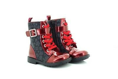 Small Girls Patent Leather Look High Ankle Boots Red Chatterbox