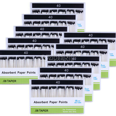10x Dental Taper: PP 0.06 40# Endodontic Root Canal Absorbent Paper Points