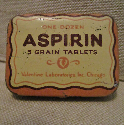 Vintage Advertising Tin-VALENTINE ASPIRIN-CHICAGO-Can-Health Medical-Drug