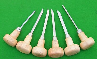 Set of 6 engravers with wooden handles