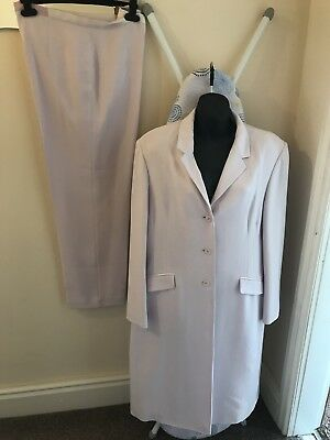 Lilac Trouser Suit Size 16 by watercolours. Long jacket & wide legged trousers