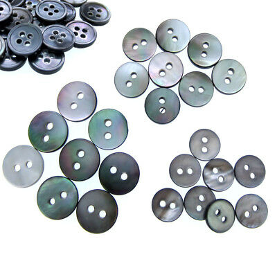 50 Black mother of pearl buttons natural shell buttons black iridescent Buttons