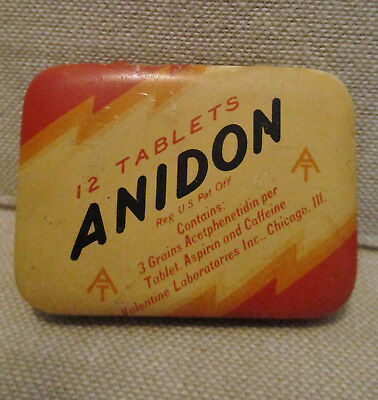 Vintage Advertising Tin-ANIDON ASPIRIN-VALENTINE Drug CHICAGO-Can-Health Medical