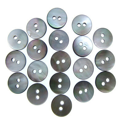 10mm Black mother of pearl buttons natural shell buttons black iridescent 2 hole