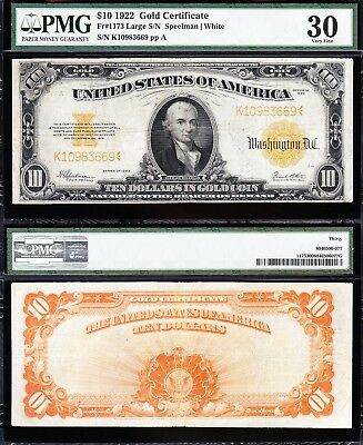 AWESOME Bold & Crisp VF+ 1922 $10 *GOLD CERTIFICATE*! PMG 30! FREE SHIP 10983669