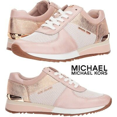 389a18613bb9 MICHAEL Michael Kors Allie Trainer Sneakers Women s Gold Casual Shoes Sport  NIB