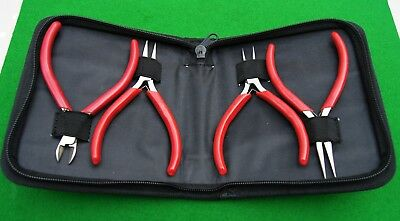 Plier set in nylon wallet, Antique/Horological use/craftmaking/jewellery/gift