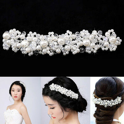 Faux Pearl Bridal Wedding Bride Crystal Rhinestone Hair Flower Applique C Ulva
