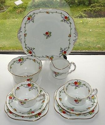 Paladin China E Hughes Fenton  Hand Painted Tea For Two Cups Saucers Plates